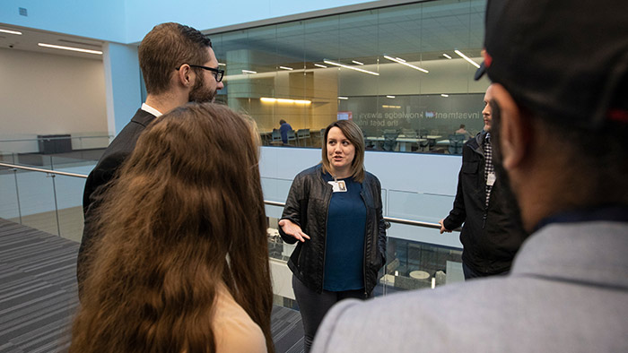 Businesswoman speaking to Missouri State students inside Glass Hall